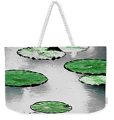 Emerald Green Lotus Leaves Weekender Tote Bag