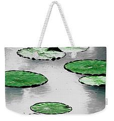 Emerald Green Lotus Leaves Weekender Tote Bag