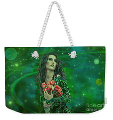Weekender Tote Bag featuring the digital art Emerald Universe by Michael Rucker