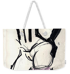 Weekender Tote Bag featuring the mixed media Emily Wearing New Black Latex Stockings And Gloves by Carolyn Weltman