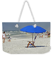 Weekender Tote Bag featuring the photograph Empty Beach Chair by Charles Beeler