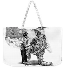 Weekender Tote Bag featuring the drawing Empty Pockets  by Peter Piatt