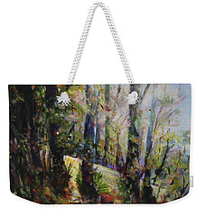 Weekender Tote Bag featuring the painting Enchanted Forest by Sher Nasser