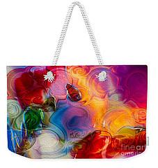 Weekender Tote Bag featuring the painting Enchanting Flames by Omaste Witkowski