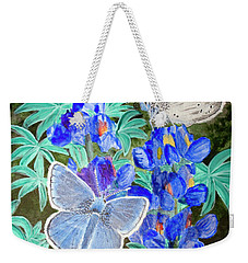 Endangered Mission Blue Butterfly Weekender Tote Bag by Mike Robles