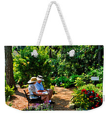 Loving Couple Enjoying Their Prayer Garden Weekender Tote Bag