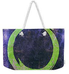 Enso No. 108 Green On Purple Weekender Tote Bag