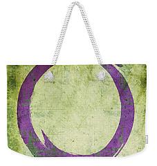Enso No. 108 Purple On Green Weekender Tote Bag