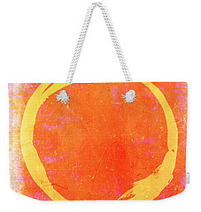 Enso No. 109 Yellow On Pink And Orange Weekender Tote Bag