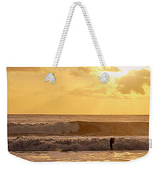 Weekender Tote Bag featuring the photograph Enter The Surfer by AJ  Schibig