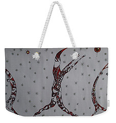 Weekender Tote Bag featuring the drawing Erinyes by Robert Nickologianis