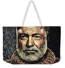 Ernest Hemingway Weekender Tote Bag by Taylan Apukovska