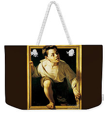 Weekender Tote Bag featuring the painting Escapando De La Critica by Pg Reproductions
