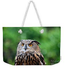 Eurasian Or European Eagle Owl Bubo Bubo Stares Intently Weekender Tote Bag