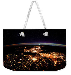 Weekender Tote Bag featuring the photograph Europe At Night, Satellite View by Science Source