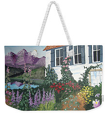 Weekender Tote Bag featuring the painting European Flower Garden by Norm Starks