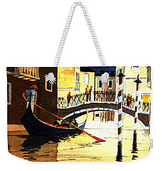 Weekender Tote Bag featuring the painting Evening Lights - Venice by Bill Holkham