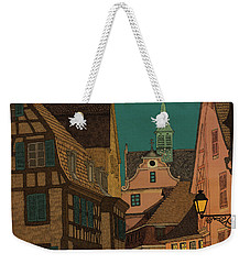 Weekender Tote Bag featuring the drawing Evening by Meg Shearer