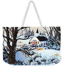 Weekender Tote Bag featuring the painting Evening Services by Barbara Griffin
