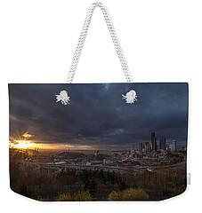 Evening Sunlit Seattle Skyline Weekender Tote Bag by Mike Reid