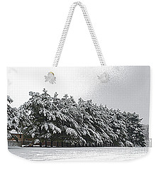 Weekender Tote Bag featuring the photograph Evergreens In Snow by Luther Fine Art
