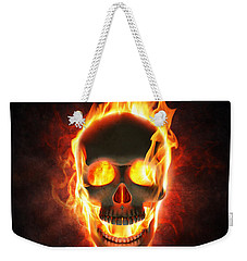 Evil Skull In Flames And Smoke Weekender Tote Bag