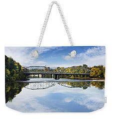 Weekender Tote Bag featuring the photograph Exchange St. Bridge Rock Bottom Dam Binghamton Ny by Christina Rollo