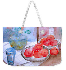 Weekender Tote Bag featuring the painting Expectation by Jasna Dragun