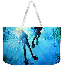 Weekender Tote Bag featuring the painting Exploring New Worlds by Hanne Lore Koehler