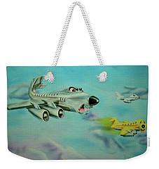 Weekender Tote Bag featuring the painting Extreme Airline Mergers by Thomas J Herring