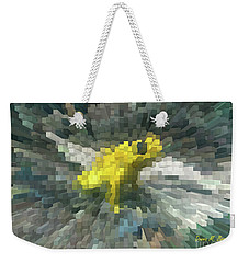 Weekender Tote Bag featuring the photograph Extrude Yellow Frog by Donna Brown