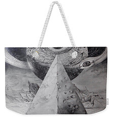 Weekender Tote Bag featuring the drawing Eye Of The Dark Star - Journey Through The Wormhole by Otto Rapp