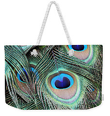 Weekender Tote Bag featuring the photograph Eye Of The Peacock #2 by Judy Whitton