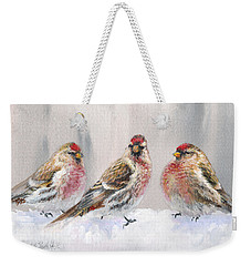 Snowy Birds - Eyeing The Feeder 2 Alaskan Redpolls In Winter Scene Weekender Tote Bag by Karen Whitworth