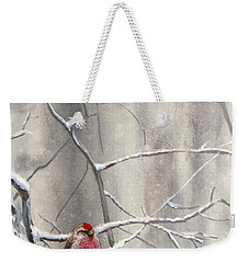 Eyeing The Feeder Alaskan Redpoll In Winter Weekender Tote Bag by Karen Whitworth