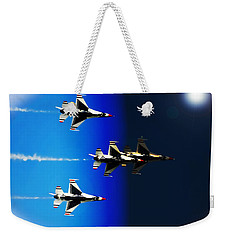 Weekender Tote Bag featuring the photograph F16 Flight Into Space by DigiArt Diaries by Vicky B Fuller