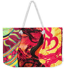 Fabric Collision Weekender Tote Bag