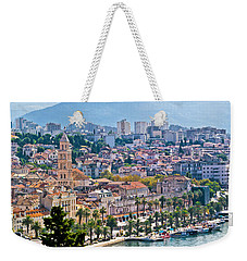 Fabulous Split Waterfront Aerial Panorama Weekender Tote Bag by Brch Photography