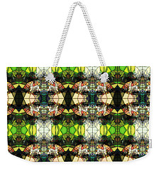 Weekender Tote Bag featuring the photograph Face In The Stained Glass Tiled by Clayton Bruster