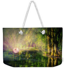 Fairy In Pink Bubble In Serenity Forest Weekender Tote Bag by Lilia D