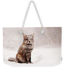 Fairytale Fox _ Red Fox In A Snow Storm Weekender Tote Bag by Roeselien Raimond