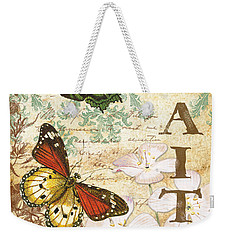 Faith And Butterflies Weekender Tote Bag by Jean Plout