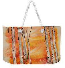 Weekender Tote Bag featuring the painting Fall Aspen On Paper by Janice Rae Pariza