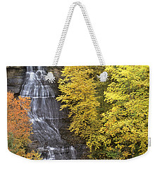Weekender Tote Bag featuring the photograph Fall Color Surrounds Chapel Falls On The Michigan Upper Peninsula by Dave Welling