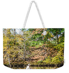 Weekender Tote Bag featuring the photograph Fishing Reflection by Debbie Green