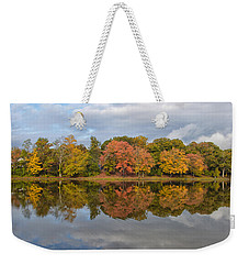 Weekender Tote Bag featuring the photograph Fall Foliage Symmetry by Ben Shields