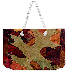 Weekender Tote Bag featuring the mixed media Fall Leaf Collage by Anna Ruzsan