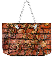 Fall Leaves On Red Brick Wall Weekender Tote Bag