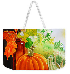 Weekender Tote Bag featuring the painting Fall Leaves Pumpkin Gourd by Irina Sztukowski