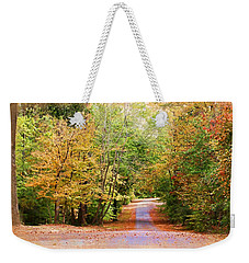 Weekender Tote Bag featuring the photograph Fall Pathway by Judy Vincent